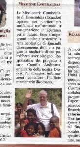 Missione Esmeraldas , Madre Camilla Andreatta, Diocesi di Latina, Bacheca delle proposte di fraternità 2015