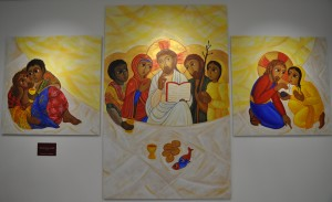 """""""Creati per la Carità"""", acrilico su tavola, 4,20 x 2,50m., Giorgia-Eloisa Andreatta, 2015"""